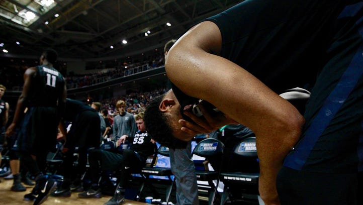 Xavier guard Trevon Bluiett is overcome with emotion after the Musketeers fell to Gonazaga 83-59 on March 25 in San Jose in the Elite Eight of the NCAA tournament.