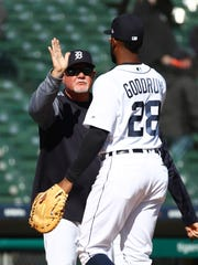 Tigers manager Ron Gardenhire celebrates with first baseman Niko Goodrum after the Tigers' 13-8 win over the Orioles on Thursday, April 19, 2018, at Comerica Park.