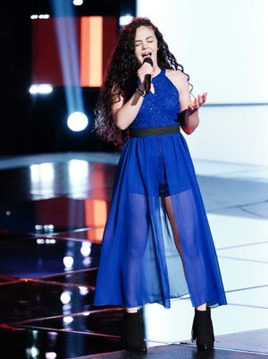 """Farmington High School junior Chevel Shepherd sings """"If I Die Young"""" during an episode of NBC's """"The Voice"""" that aired Monday night."""
