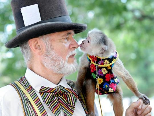 Jerry Brown and Djhango, the monkey, at the 3rd annual