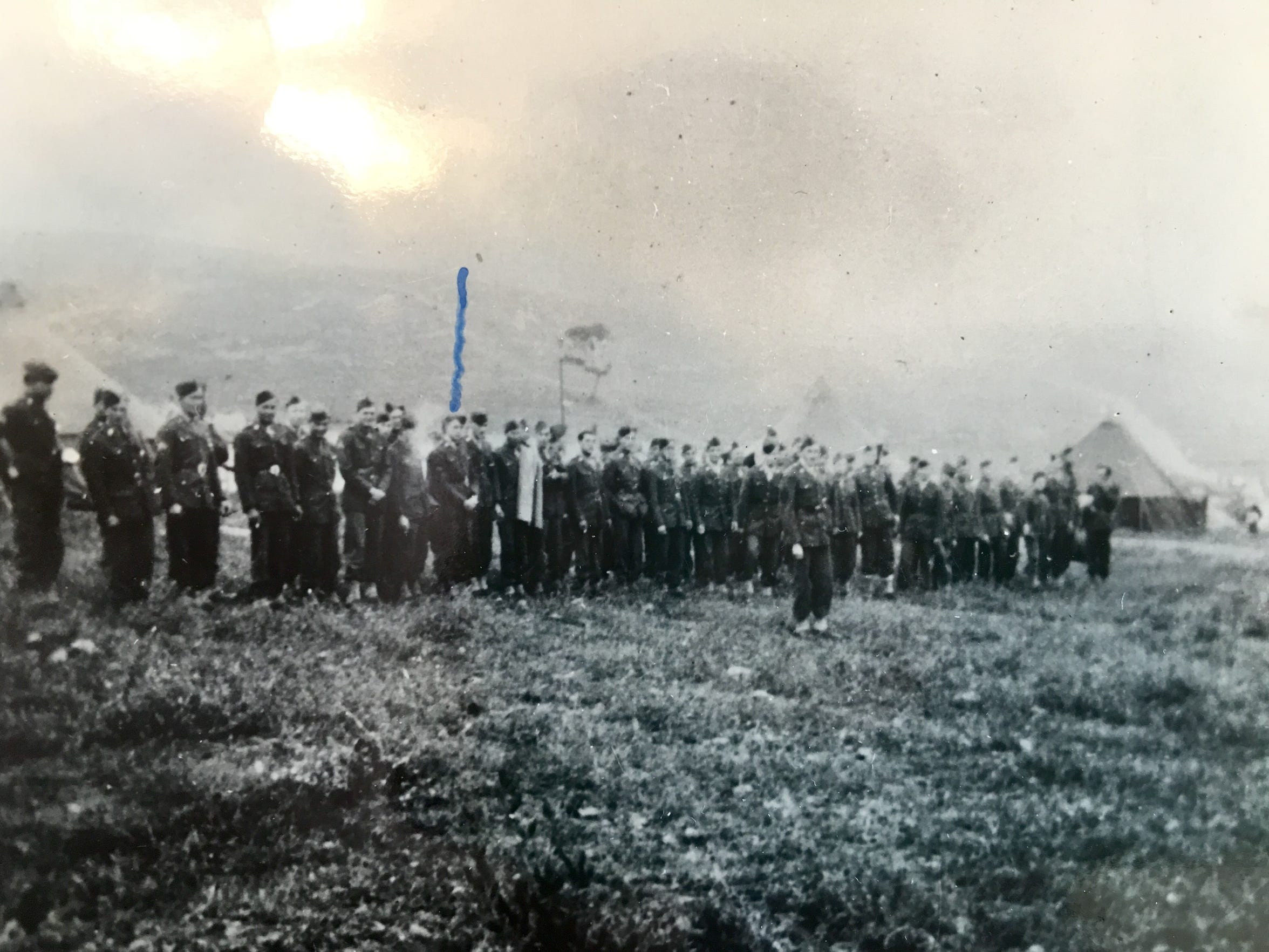 """William """"Babe"""" Brinkley is pictured below the blue arrow in this photo of the new U.S. Army Rangers training in Scotland."""