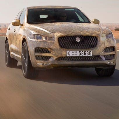 Jaguar is testing its first SUV in extreme temperatures, like here in Dubai. From the front, it's made to look like a Jaguar -- even though its an SUV