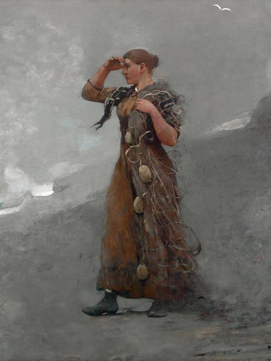 """The Fisher Girl"" (1894), an oil painting by Winslow"