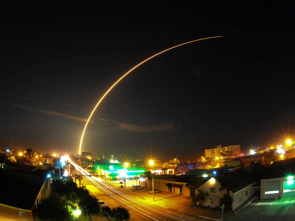 A SpaceX rocket carrying two commercial communications satellites blasts off on March 1 from Cape Canaveral Air Force Station Launch Complex 41near Cocoa Beach, Fla.