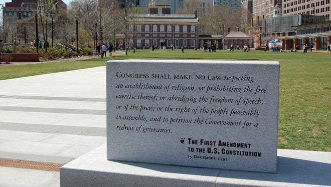 The first amendment on display in front of Independence Hall in Philadelphia.