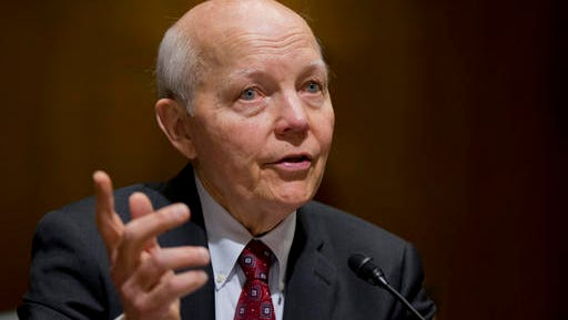 FILE - In this Feb. 10, 2016 file photo, Internal Revenue Service (IRS) Commissioner John Koskinen testifies on Capitol Hill in Washington. A campaign-season effort by conservatives to impeach the IRS commissioner has no chance of succeeding and is being resisted by other Republicans who think it could hurt them with swing voters.  (AP Photo/Manuel Balce Ceneta, File)
