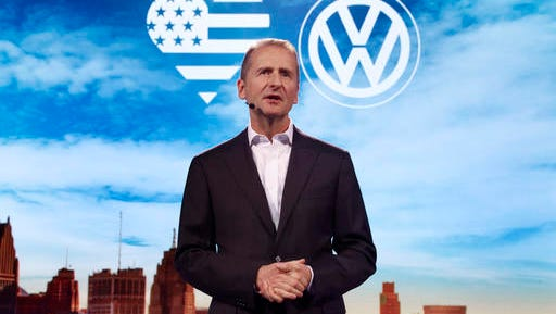 Herbert Diess, Member of the Board of Management of Volkswagen AG, Chairman of the Board of Management of the Volkswagen Passenger Cars brand speaks before the North American International Auto Show in Detroit, Sunday, Jan. 8, 2017.