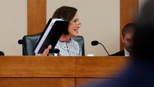 "Sen. Lois Kolkhorst, R-Brenham, speaks as the Senate State Affairs Committee begins to debate Senate Bill 6 at the Texas Capitol, Tuesday, March 7, 2017, in Austin, Texas. The the transgender ""bathroom bill"" would require people to use public bathrooms and restrooms that correspond with the sex on their birth certificate."