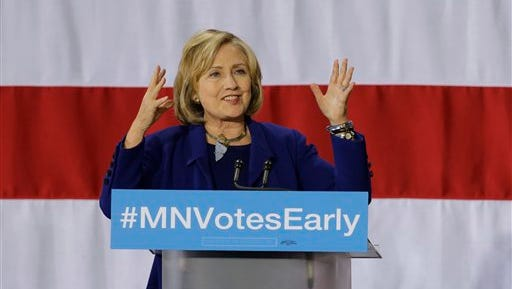 Former Secretary of State Hillary Rodham Clinton appears at a get-out-the-vote rally in support for Democratic U.S. Sen. Al Franken and Minnesota Democratic Gov. Mark Dayton at Macalester College in St. Paul, Minn., Thursday, Oct. 23, 2014. (AP Photo/Ann Heisenfelt)