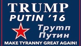 """The fake campaign poster created by John Kasich's campaign, complete with the slogan """"Make tyranny great again!"""""""