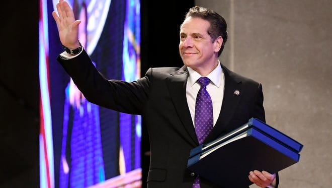 New York Gov. Andrew Cuomo arrives to deliver his state of the state address at the Empire State Plaza Convention Center on Wednesday, Jan. 3, 2018, in Albany, N.Y.