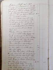 The page in Reed Brown's journal recounting his first day of the journey to New York City, Washington and out to Ohio.