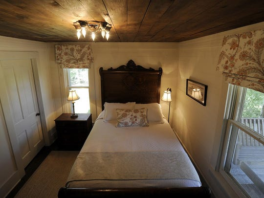 The bedroom inside the Holly House at Green Frog Farm in Alamo.