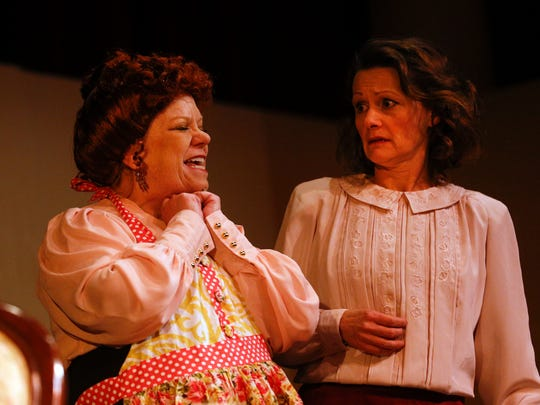 """Lenore Marcotte, left, rehearses a scene from the Theater Ensemble Arts production of """"The Underpants"""" with Rhonda Sigler on Wednesday at the Totah Theater in Farmington."""