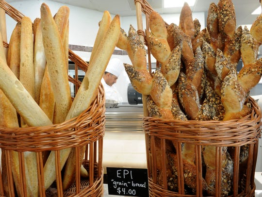 Different breads are displayed at Cafe Ficelle in Ventura. The combination bakery and restaurant is named for a thin, baguette-like loaf of bread.