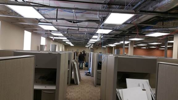 The Reid Hospital Information Services work areas, in the building that also houses Urgent Care and other offices, were among two floors damaged by water pipe break Thursday. All offices in the building are being relocated because repairs could take six weeks.