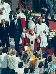 Pope John Paul II visits Sun Devil Stadium in 1987.