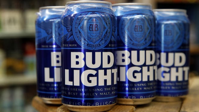 Cans of Bud Light beer are seen, Thursday Jan. 10, 2019.