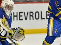 St. Cloud Cathedral defender Max LaBine (17) moves the puck away from goaltender Keegan Karki (35) during the first period of the Class A quarterfinal game in the boys state high school tournament Wednesday at Xcel Energy Center in St. Paul.