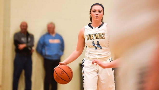 River Valley senior Morgan Lott dribbles the ball up the court against North Union earlier this season. Lott, a senior point guard, was named All-Star Marion County Girls Basketball Player of the Year.