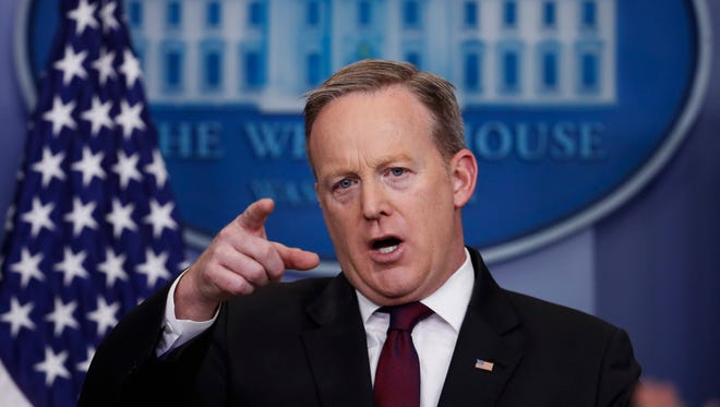 White House press secretary Sean Spicer speaks during a daily press briefing at the White House Feb. 23, 2017.