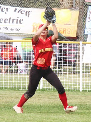 Rocky Ford High School's Niquole Knapp records the out in center field in Saturday's game with Wiley. The Lady Meloneers won the game 5-4.