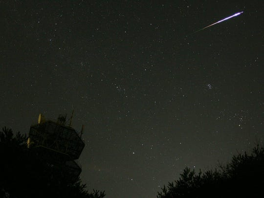 Often during the Perseid meteor shower, bright fireballs, such as this one in 2004, can be seen.