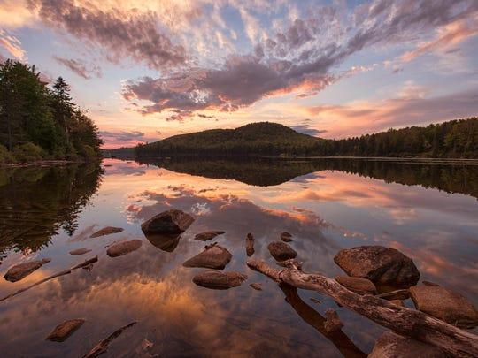 Sunset reflection on Kettle Pond