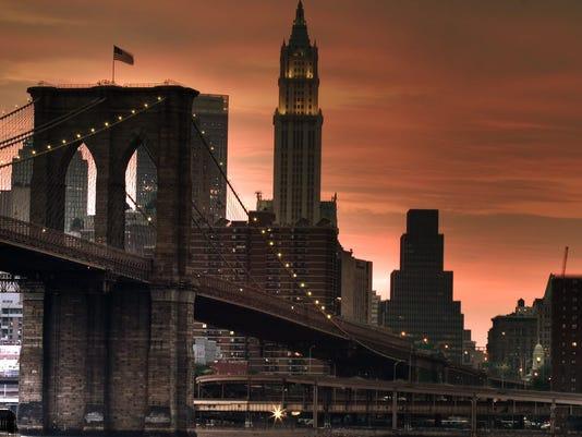 New York's Brooklyn Bridge at sunset