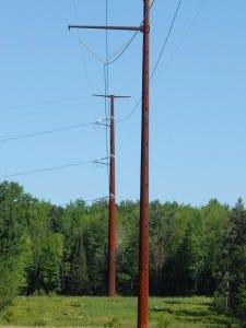 High-voltage power line poles