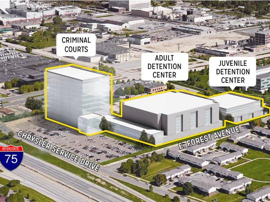Rendering of proposal for new jail site on East Forest