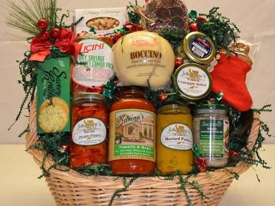 A special Christmas gourmet gift basket at Joe Leone's Italian Specialties, priced at $150.