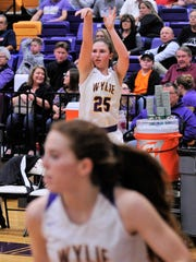 Lauren Fulenwider takes a 3-point shot during Wylie's 72-42 win against Big Spring on Friday, Jan. 26, 2018.