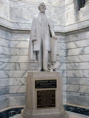 The Jefferson Davis statue in the Kentucky State Capitol rotunda has drawn complaints for many years about its high profile place in what was considered neutral grounds during the Civil War. Aug. 16, 2017