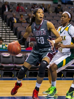 Graduate student forward Alexis Udoji, pictured here at the 2015 MEAC women's basketball tournament, is one of the key returners for the UMES women.