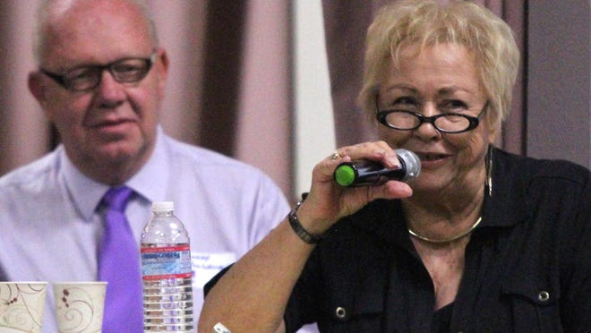 Palm Springs mayoral candidate Ginny Foat speaks during a forum hosted by the Desert Stonewall Democrats in August, 2015, at the Mizell Senior Center.