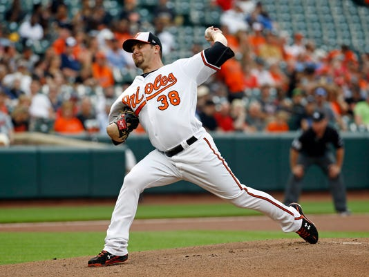 Baltimore Orioles starting pitcher Wade Miley throws to the Cleveland Indians during the first inning of a baseball game in Baltimore, Thursday, June 22, 2017. (AP Photo/Patrick Semansky)