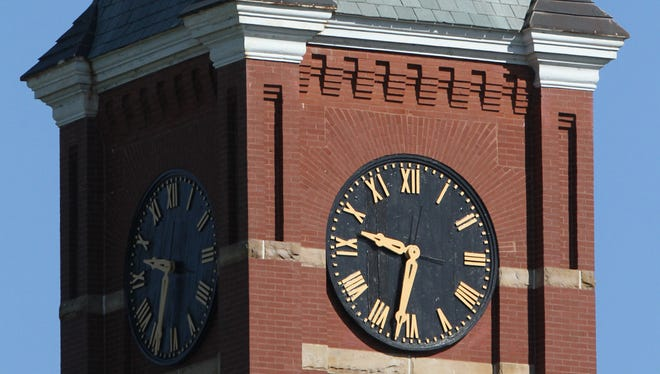 Courthouse clock tower, downtown Howell
