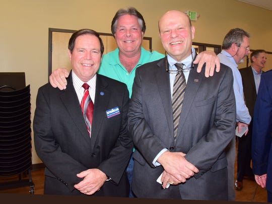"Knox County sheriff candidate Tom Spangler poses for a photo with Sheriff Jimmy ""J.J."" Jones and sheriff candidate Lee Tramel at the North West Knox Business and Professionals Association meeting at Karns Senior Center on March 15."