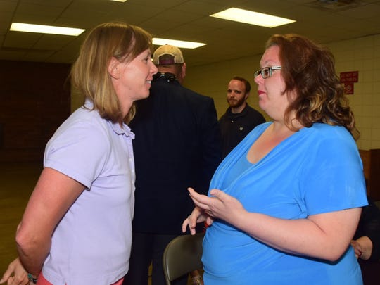 Coleen Martinez fields questions by fellow Democrat Heather Hensley.