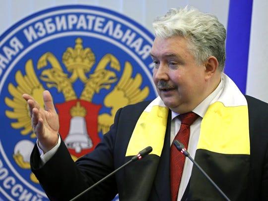 Russian presidential candidate Sergei Baburin speaks