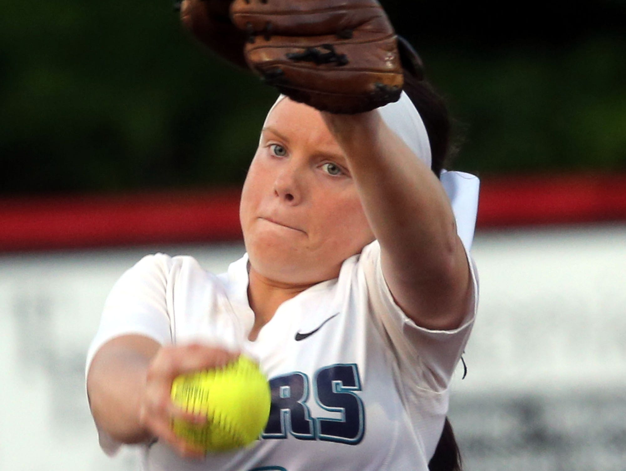 Siegel's Veronica Westfall pitches against Coffee County on Wednesday. Westfall will be in the pitcher's circle when the Lady Stars face Hardin Valley at 4 p.m. Tuesday, May 19.