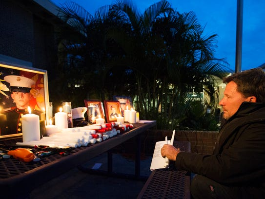 John DeStefano honors U.S. Marine and Cypress Lake