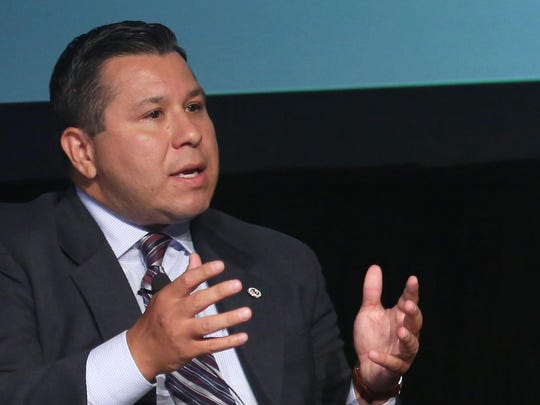 Assemblymember Eduardo Garcia, D-Coachella, speaks at the Southern California Energy and Water Summit in Palm Springs on Thursday.