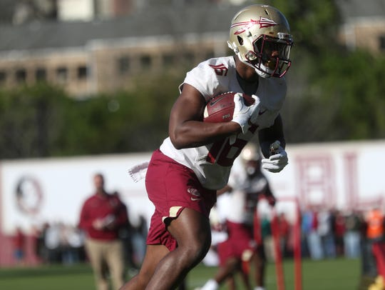 FSU's Tre' McKitty during spring practice at the Al