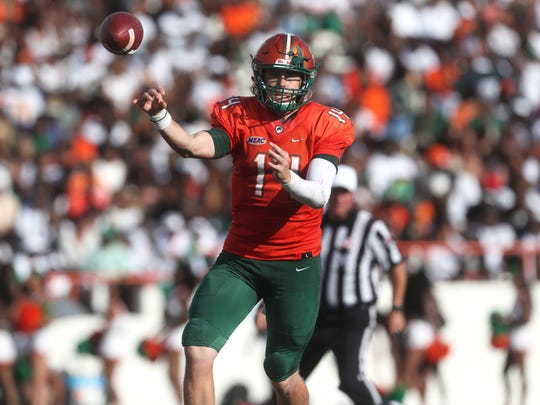 FAMU's Ryan Stanley throws a pass against Fort Valley