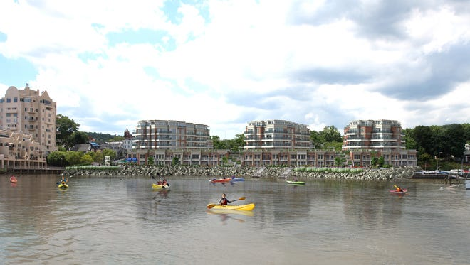This rendering shows the TZ Vista planned project in Nyack, as viewed from the Hudson River.