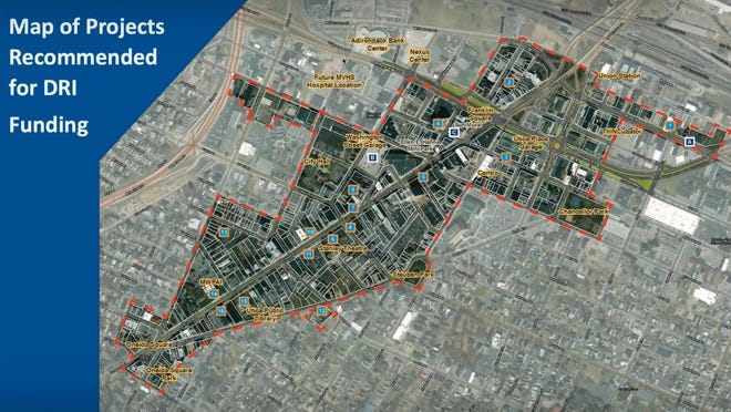 A map of Utica's Downtown Revitalization Initiative meeting presented during the local planning committee meeting on Thursday, Sept. 4, 2020.