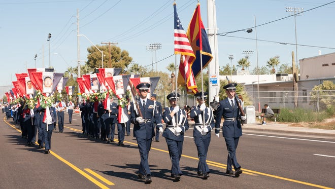 The East Valley Veterans Parade marching through Mesa in 2014.