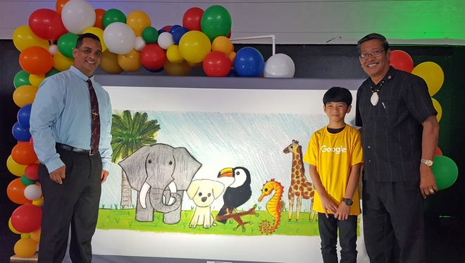 Congratulations to fifth-grader Steven Magno for being one of 52 finalists in the Doodle 4 Google contest. Senators Frank Aguon Jr. and Joe S. San Agustin were invited by Upi Elementary School to help congratulate him. Magno will represent Guam in the national contest.